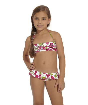 Red & Green Rio Bandeau Bikini - Toddler & Girls