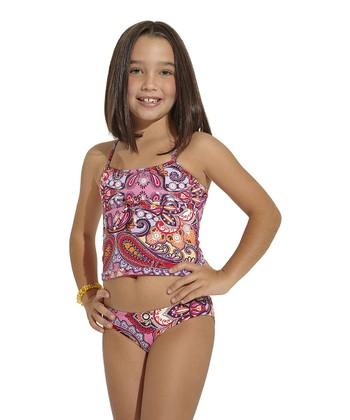 Pink & Red Arabian Soul Tankini - Toddler & Girls