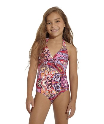 Pink & Red Arabian Soul Halter One-Piece - Toddler & Girls