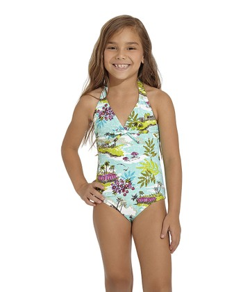 Aqua & Green Goa Halter One-Piece - Toddler & Girls
