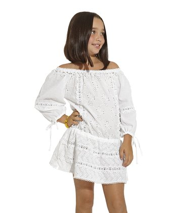 White Eyelet Cover-Up - Toddler & Girls
