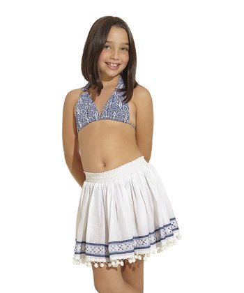 White & Blue Cassia Skirt - Toddler & Girls