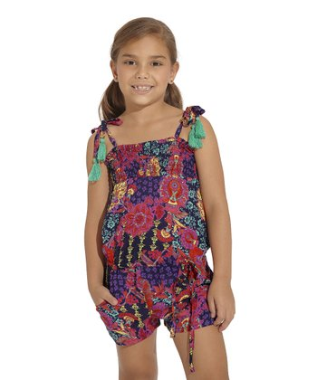 Purple & Red Bursa Romper - Toddler & Girls