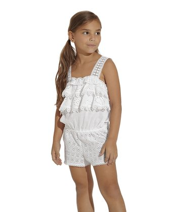 White Eyelet Romper - Toddler & Girls