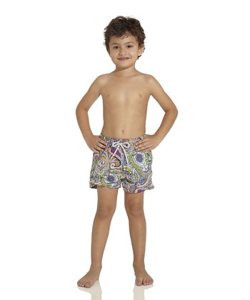 Purple & Green Boomchic Nicky Swim Trunks - Toddler & Boys