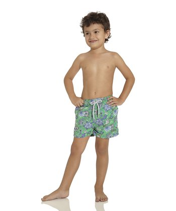 Green Nomad Soul Nicky Swim Trunks - Toddler & Boys