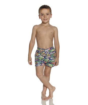 Blue & Green Folkloric Nicky Swim Trunks - Boys