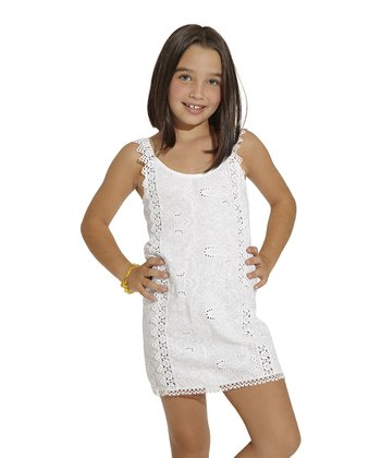 White Eyelet Scoop Neck Dress - Toddler & Girls