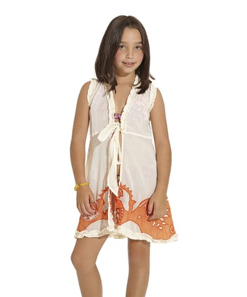Ivory Arabian Soul Ruffle Cover-Up - Toddler & Girls