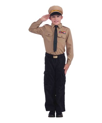 Brown Officer Dress-Up Set - Boys
