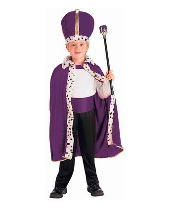 Purple & White King Dress-Up Set - Boys
