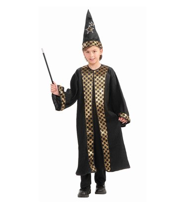 Gold & Black Wizard Dress-Up Set - Boys