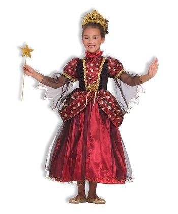 Burgundy & Gold Star Princess Dress - Girls