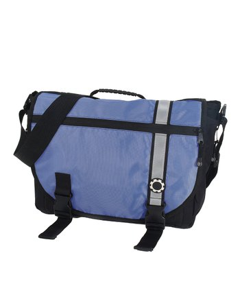 Blue Retro Stripe Messenger Diaper Bag