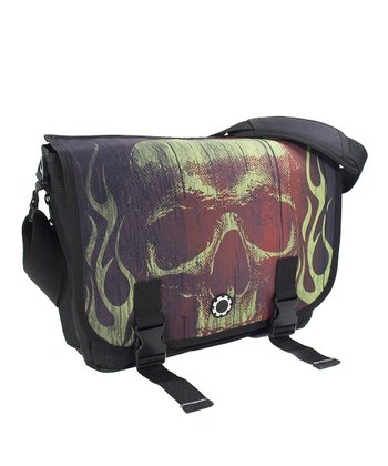 Lime Skull Messenger Diaper Bag