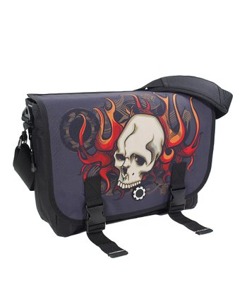 Skull & Flames Messenger Diaper Bag