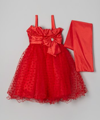 Red Hearts A-Line Dress & Shawl - Girls