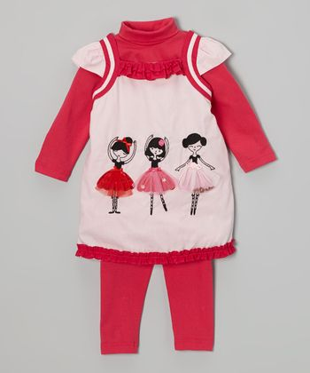 Pink & Fuchsia Ballerina Leggings Set - Infant & Toddler