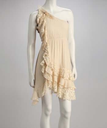 Cream Asymmetrical Ruffle Dress
