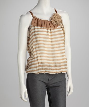 Beige & White Stripe Bubble Camisole Top