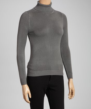 Gray Ribbed-Trim Turtleneck
