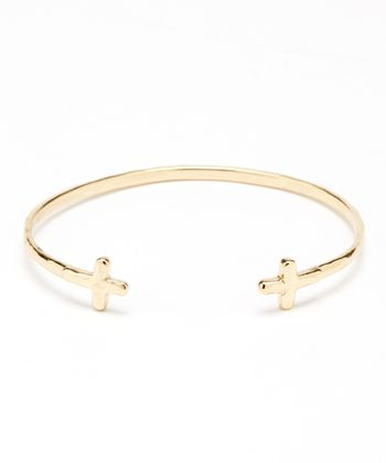Gold Cross Cuff Bracelet