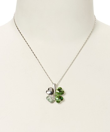 Green Crystal & Sterling Silver Four Heart Clover Necklace
