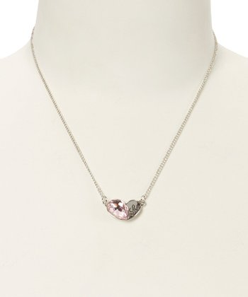 Pink Crystal & Silver 'Love' Necklace