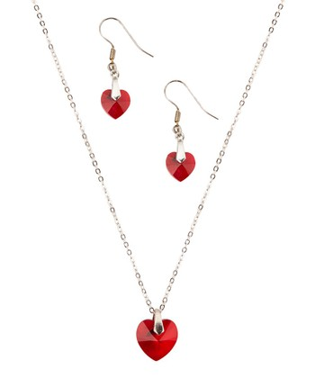 Ruby Crystal Necklace & Earrings Set