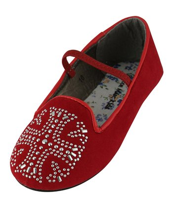 Red Rhinestone Cross Flat