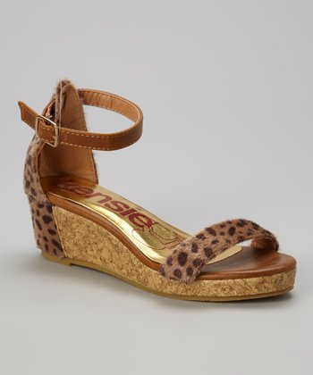 kensiegirl Brown Leopard Wedge Sandal