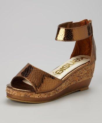 kensiegirl Bronze Snakeskin Wedge Sandal
