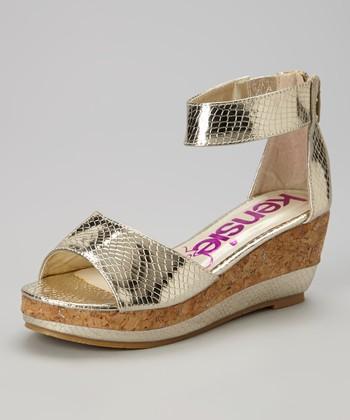kensiegirl Gold Snakeskin Wedge Sandal