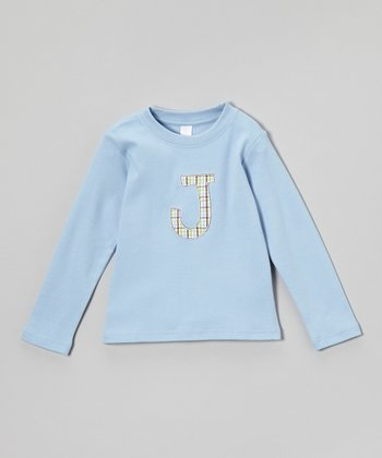 Blue Plaid Initial Tee - Infant, Toddler & Kids