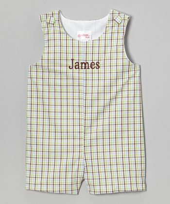 Green & Brown Plaid Personalized John Johns - Infant & Toddler