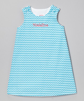 Aqua Zigzag Personalized Jumper - Infant, Toddler & Girls