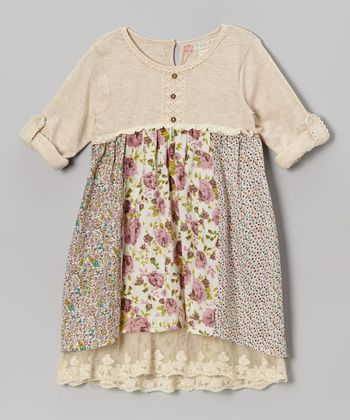 Beige & Purple Floral Henley Babydoll Dress - Toddler & Girls
