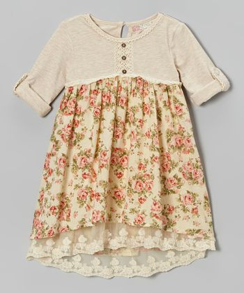 Beige Floral Henley Babydoll Dress - Toddler
