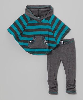Heather Gray & Blue Stripe Poncho & Leggings - Toddler & Girls