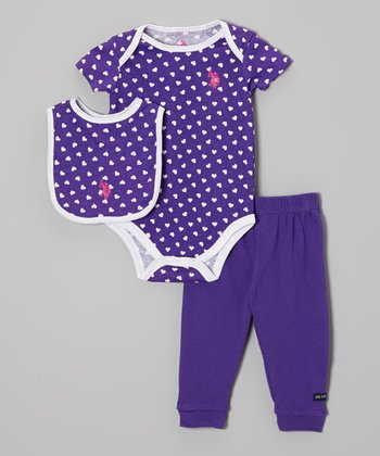 Purple Hearts Bodysuit Set - Infant