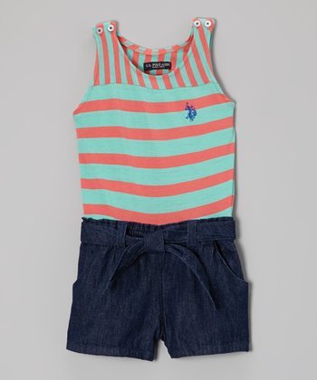 Coral & Light Blue Stripe Button Romper - Toddler & Girls