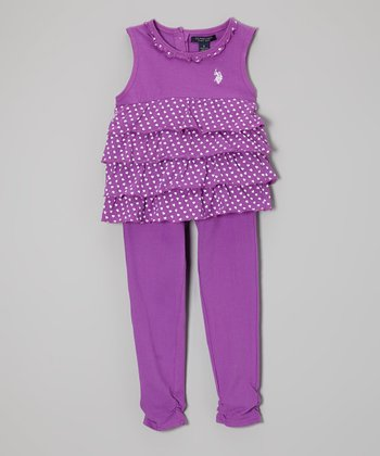 Purple Heart Tiered Tank & Leggings - Toddler & Girls