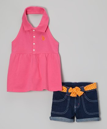 Hot Pink Polo Halter Top & Denim Shorts - Girls