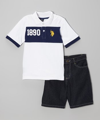Navy & White Polo & Denim Shorts - Infant, Toddler & Boys