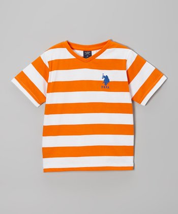 Orange & White Stripe Tee - Toddler & Boys