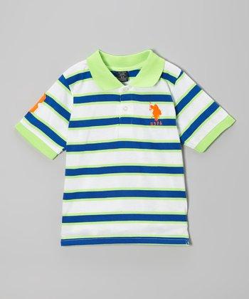 Navy & Lime Stripe Polo - Toddler & Boys