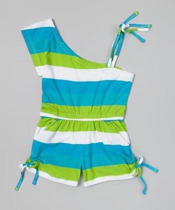 Lime & Blue Stripe Asymmetrical Romper - Girls