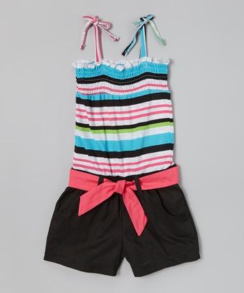 Blue & Black Stripe Shirred Romper - Girls