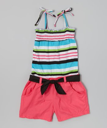 Blue & Pink Stripe Shirred Romper - Infant & Girls
