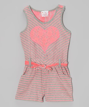 Pink Stripe Lace Heart Romper - Girls